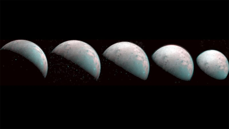 Five greyish spheres on black background, phases from crescent to gibbous.
