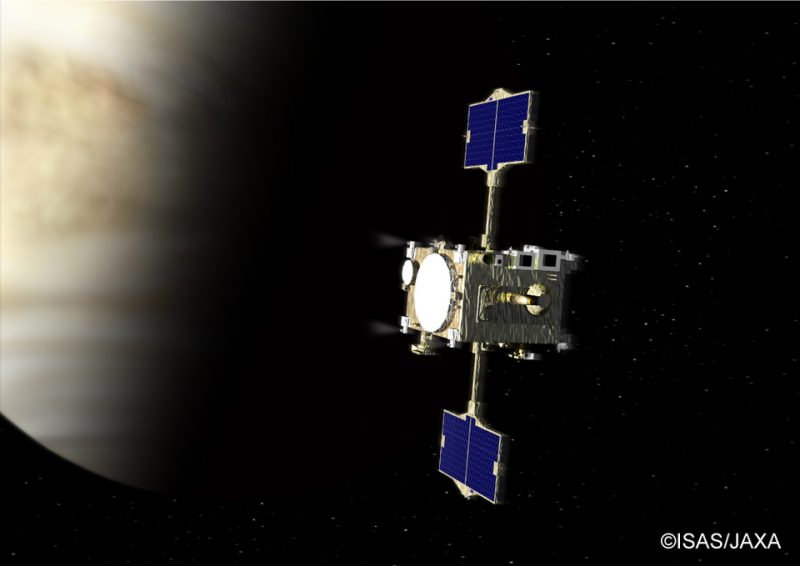 Boxy satellite with solar panel wings orbiting a cloudy planet.