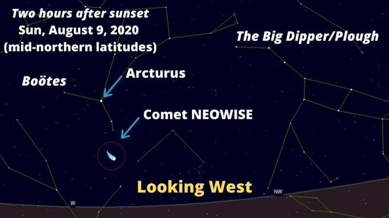 Chart with labels showing location of Comet NEOWISE on August 9, 2020.