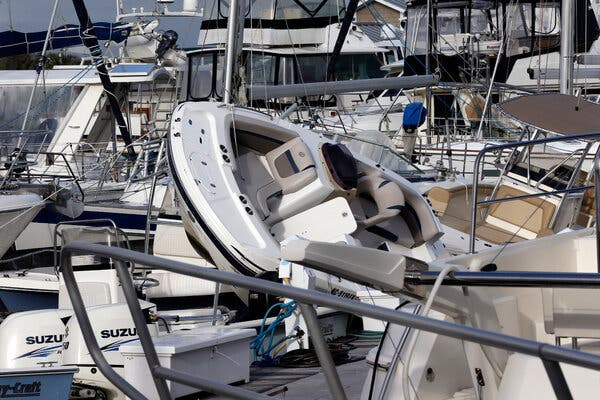 Isaias piled up pleasure boats in Southport, N.C. It is the ninth named storm of the year, a first this early in the hurricane season.