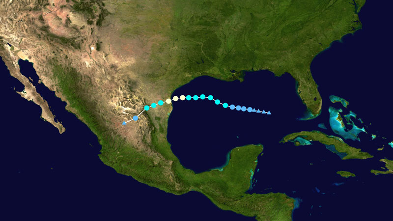 Satellite map of Gulf of Mexico, southern U.S. and Mexico with colored dots along Hanna's path.
