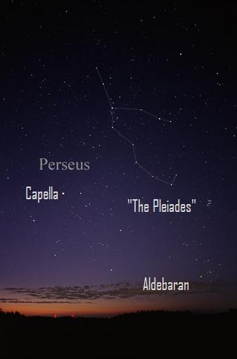 Sky photo with Perseus constellation, stars, and Pleiades labeled.
