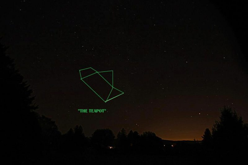 Night sky with a large teapot outlined with a star at each vertex.