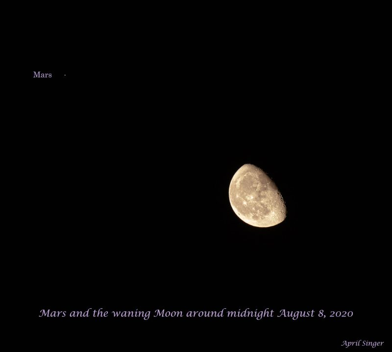 A nearly last quarter moon near a red dot labeled Mars.