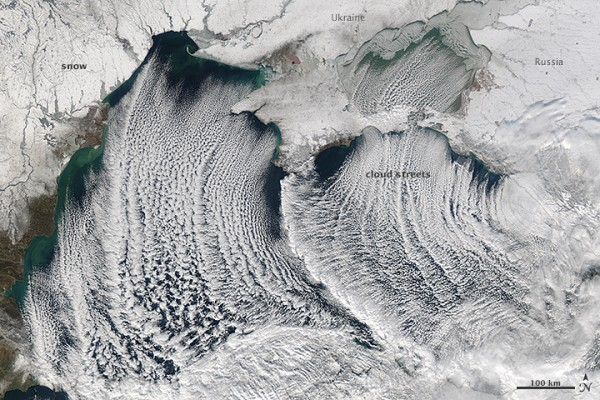 NASA's Aqua satellite captured this image of cloud streets over the Black Sea on January 8, 2015. NASA Earth Observatory image courtesy Jeff Schmaltz LANCE/EOSDIS MODIS Rapid Response Team, GSFC.