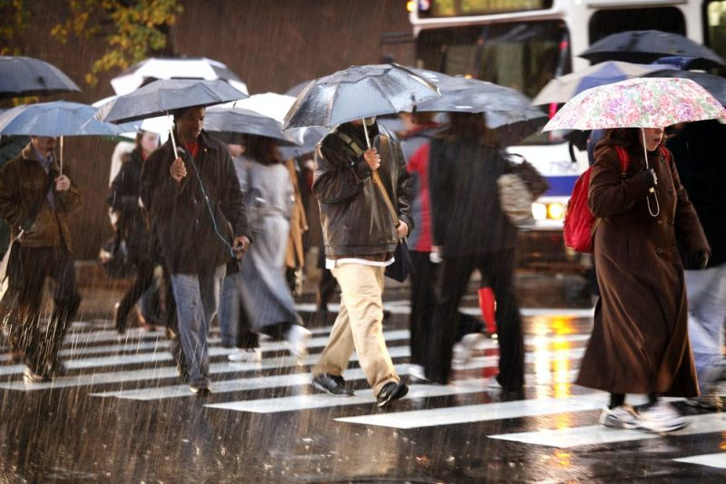 People with umbrellas crossing a street in the rain.