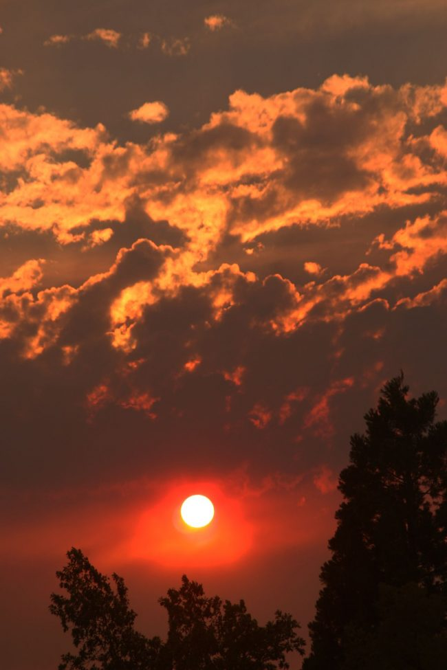 Fiery wildfire sunset, and fiery sky full of red, orange and yellow torn-looking clouds.