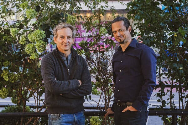 From left, the artists Andrew Boyd and Gan Golan in Union Square in Manhattan.