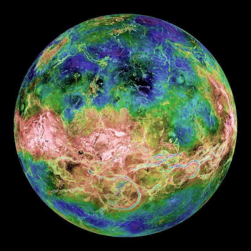 False-color map of globe of Venus showing highs and lows of the landscape.