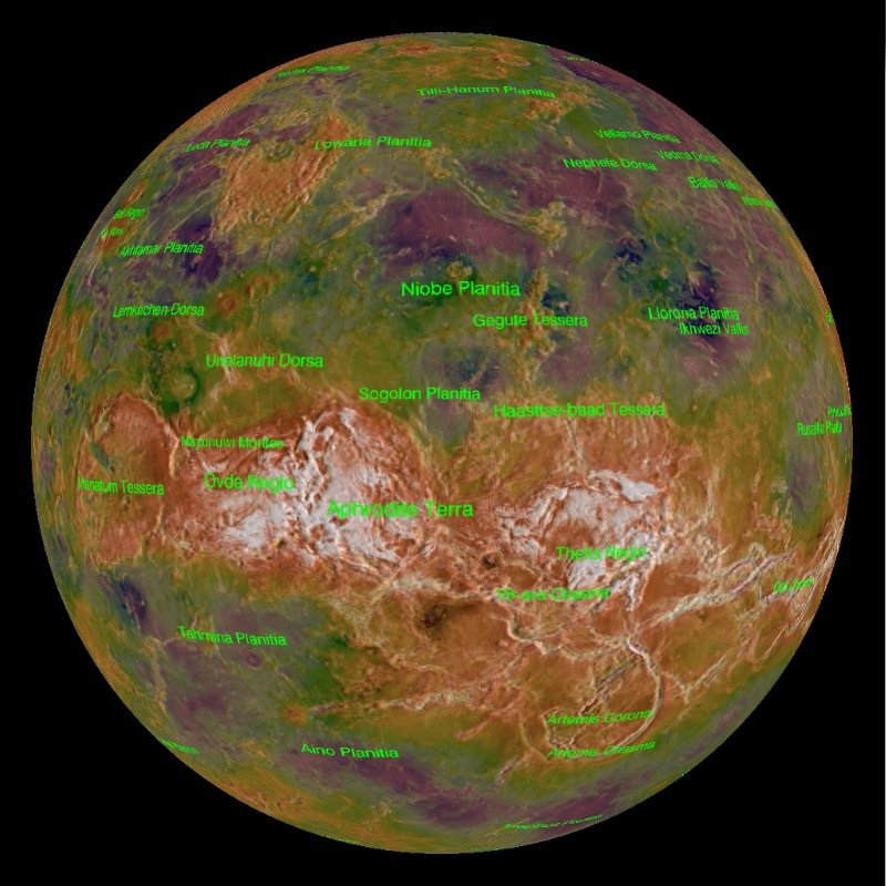 False-color globe of Venus with many features labeled in green showing highs and lows on landscape.