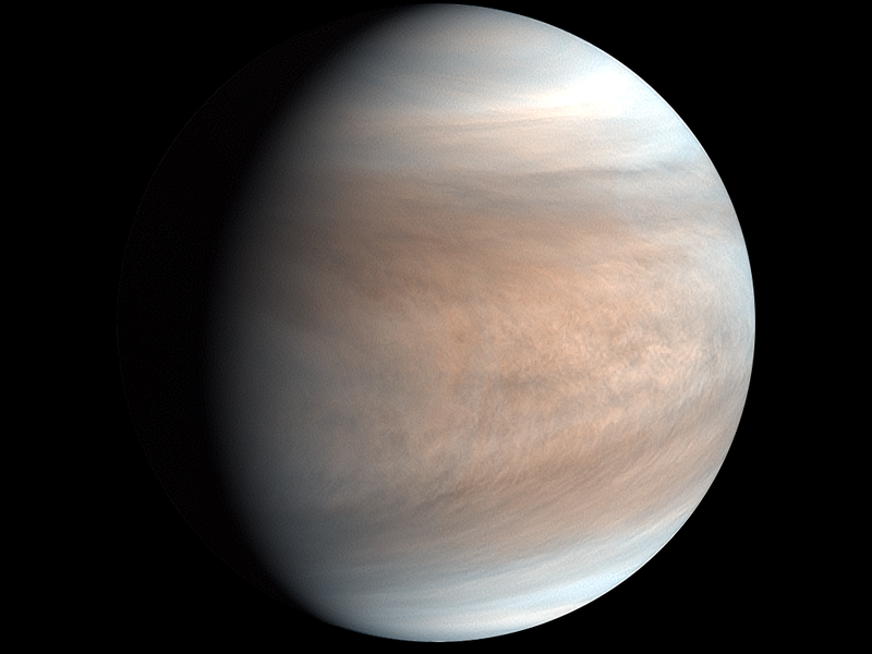 Planet covered by nearly featureless pale pink and gray wispy clouds on black background.