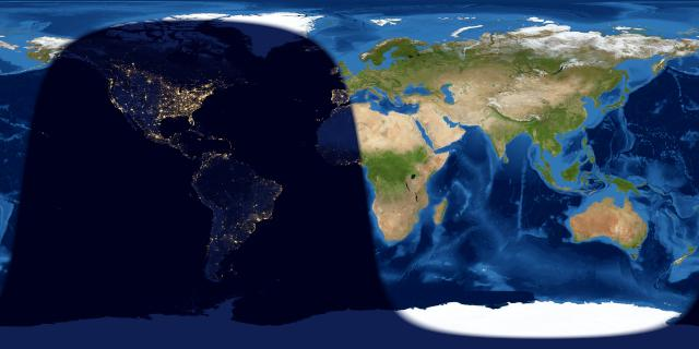 Map of Earth showing day and night side of Earth at full moon.