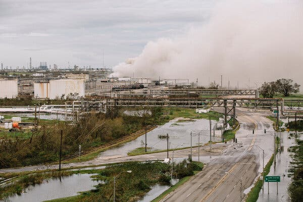 Storm damage from Hurricane Laura led to a chemical fire at a BioLab plant in Westlake, La., across the Calcasieu River from Lake Charles.
