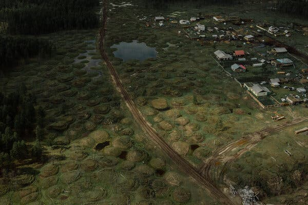 The loss of permafrost has transformed the terrain in Yakutia, Russia, leaving an obstacle course of hummocks and craters caused by shifting temperatures underground.