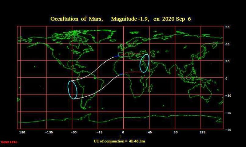 worldwide map of the occultation of Mars.