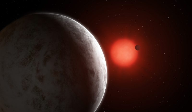 Two planets, one close up and one distant, orbiting a red star in space.