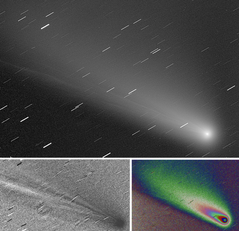A composite of 3 images of the comet, one as it would look through a telescope and 2 in false color.
