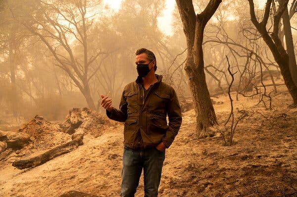 Gov. Gavin Newsom of California visited land burned by the North Complex fire last week.
