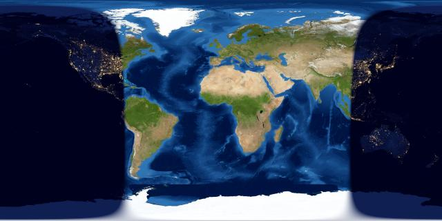 Worldwide map of day and night sides of world one day after new moon.