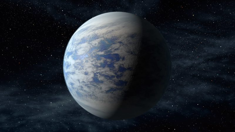 Earth-like planet with stars in background.