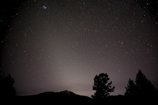 Starry sky with faint, high triangle of light coming up from the horizon beyond trees and hills.