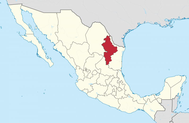 Map showing location of Nuevo Leon in Mexico.