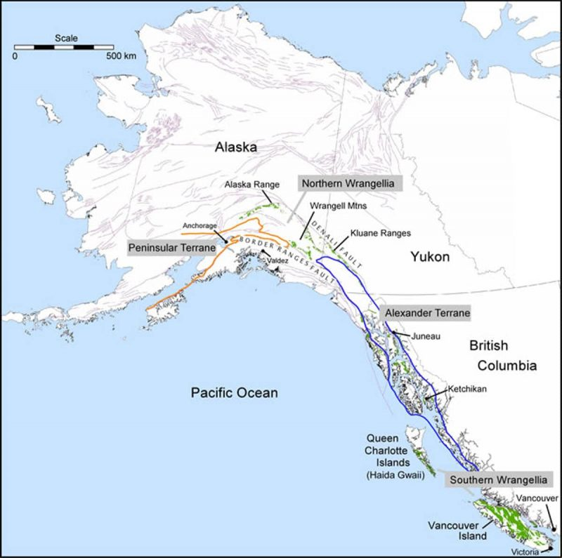 Map of Alaska and western Canada with elongated areas outlined near coast.
