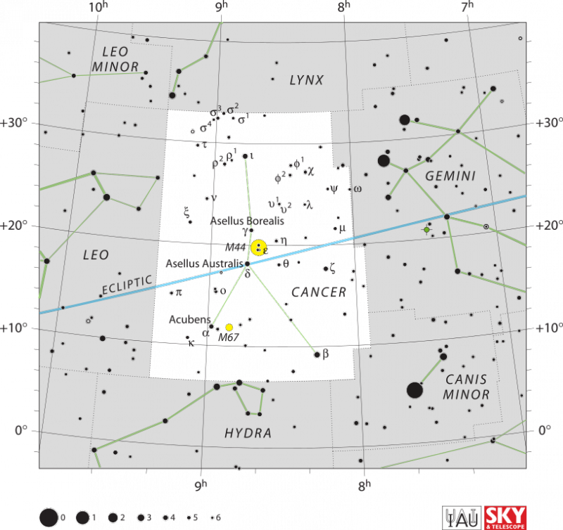 Star chart with stars in black on white of constellation Cancer.