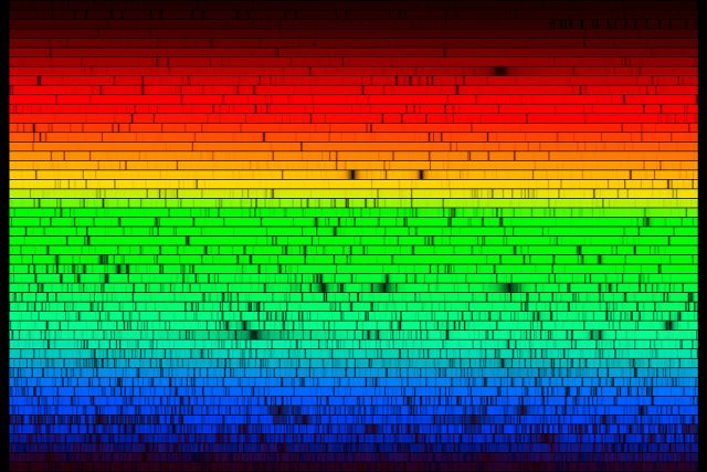 Multiple rainbow stripes with tiny vertical lines along them.