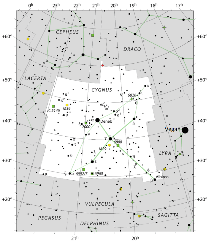 Star chart of contellation Cynus with stars in black on white.