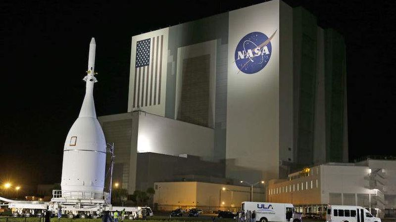 Orion is pictured outside the Cape Canaveral Air Force Station on a November evening.