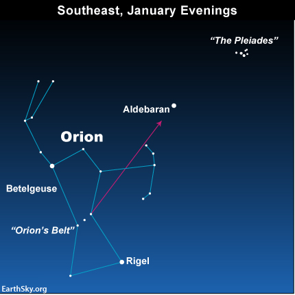 Star chart of constellation Orion, the bright star Aldebaran, and the tiny Pleiades cluster.