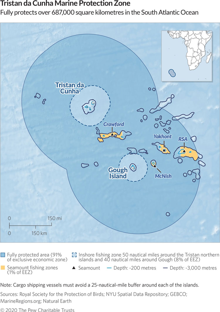 Map of island chain on blue background with large darker blue area around it.