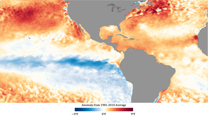 Map of Atlantic Ocean showing temps in orange and red. Part of eastern Pacific visible.
