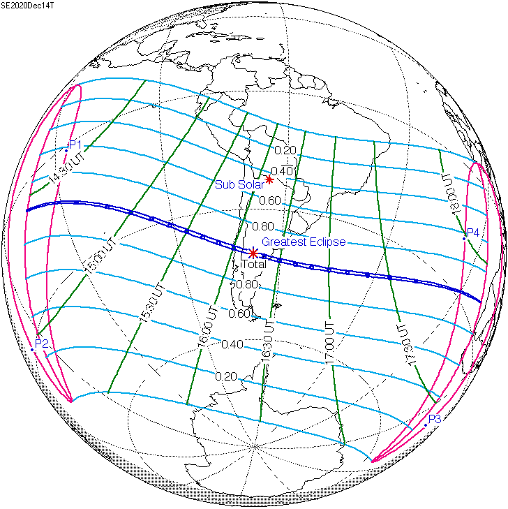 Map of December 14, 2020 total solar eclipse.