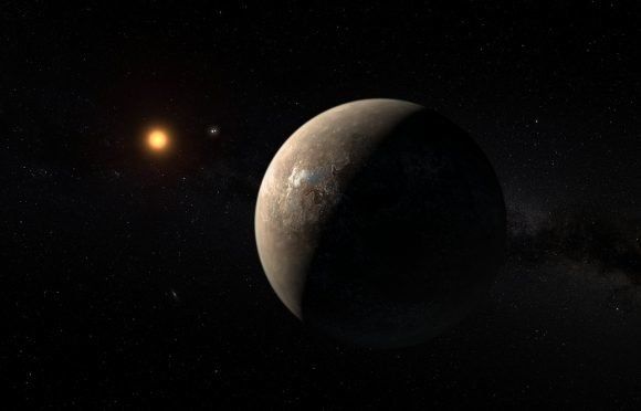 Rocky planet with reddish star in distance and other stars in background.