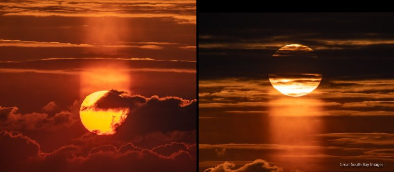 2 photo, each of large sun in clouds with wide column of light above and below respectively.