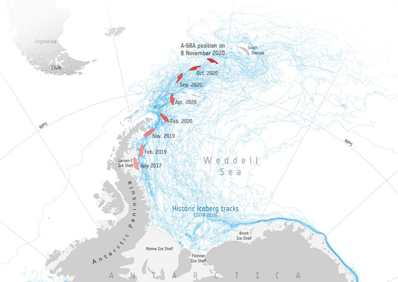 Map of Weddell Sea next to Antarctica with positions of A-68A marked for succeeding dates.