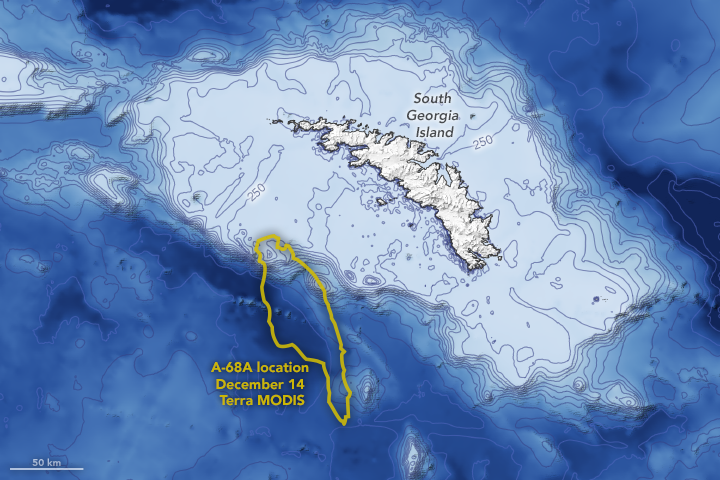 Map with contours of shallow waters around South Georgia and A-68A arriving at shallows.