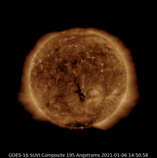 A more detailed image of the sun; it looks like a big ball of roiling gases.