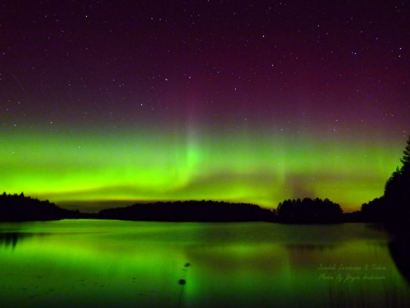 A distant green aurora under the Big Dipper reflected in water.