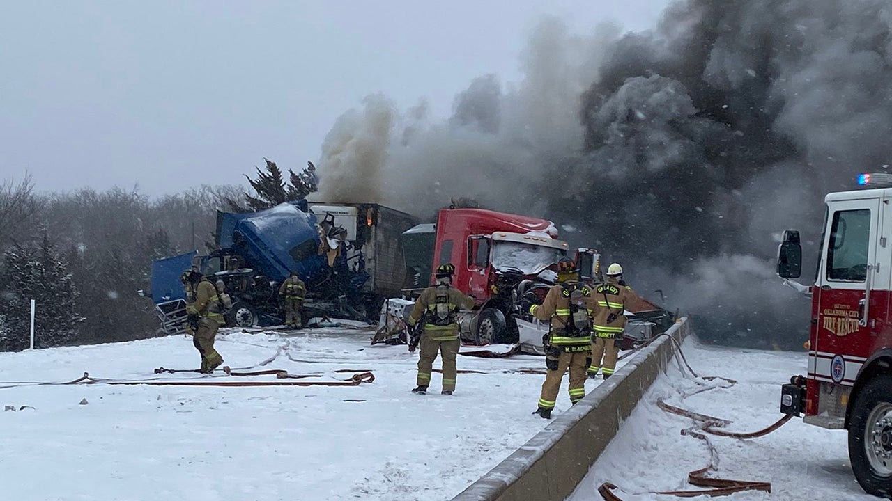 A fiery pileup involving semitrailer tractors shut down both sides of Interstate 44, the Turner Turnpike, in Oklahoma City, Oklahoma, on Sunday, February 14, 2021. (Twittter/@OKTurnpike)