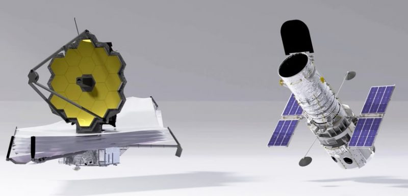 Artist's concept of Webb telescope on the left, Hubble on the right.