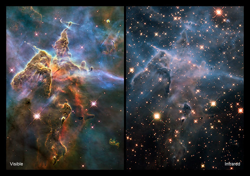 Hubble's visible image of the Carina Nebula shows a cloud-like region; in the infrared, the image looks less cloudy, and more stars are visible.