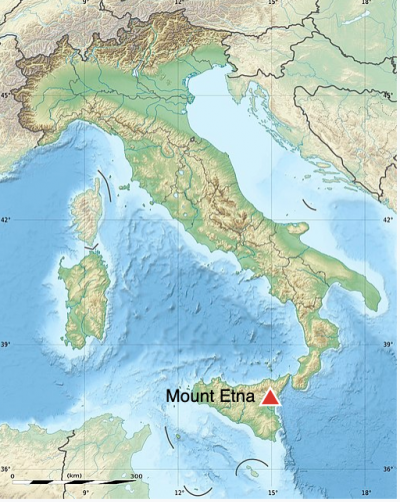 Map of Italy and Sicily with small red triangle on east coast of Sicily.