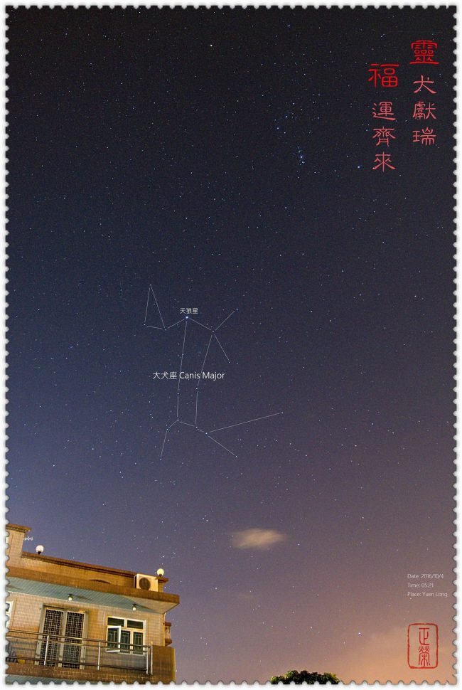 Constellation Canis Major outlined in starry sky. Orion above, with Chinese characters.