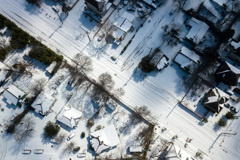Austin, Texas, is blanketed in snow on Feb. 15, 2021, after a storm dropped several inches of snow across the city.