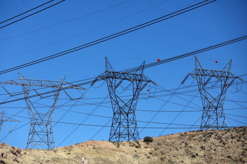 Electric transmission lines along a power corridor near Southern California Edison's Vincent substation north of Los Angeles.